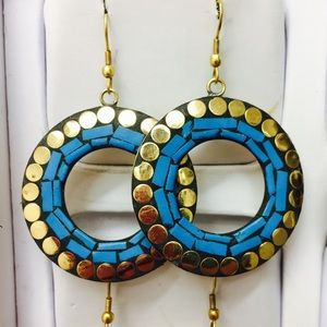 Handmade Round turquoise color Earrings